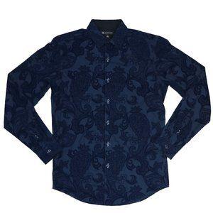 INC Textured Velvet Paisley Button Down Shirt NWT